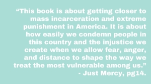 """""""This book is about getting closer to mass incarceration and extreme punishment in America. It is about how easily we condemn people in this country and the injustice we create when we allow fear, anger, and distanc"""
