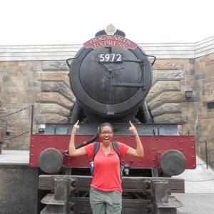 Rachel In front of the Hogwarts Express @ Universal Studios  Florida